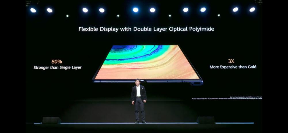 메이트Xs는 더블 레이어 옵티컬 폴리머 구조로 폴더블 디스플레이 내구성을 높였다.