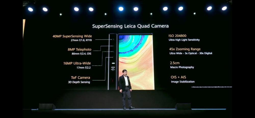 메이트Xs는 라이카와 협업한 쿼드 카메라를 탑재했다.