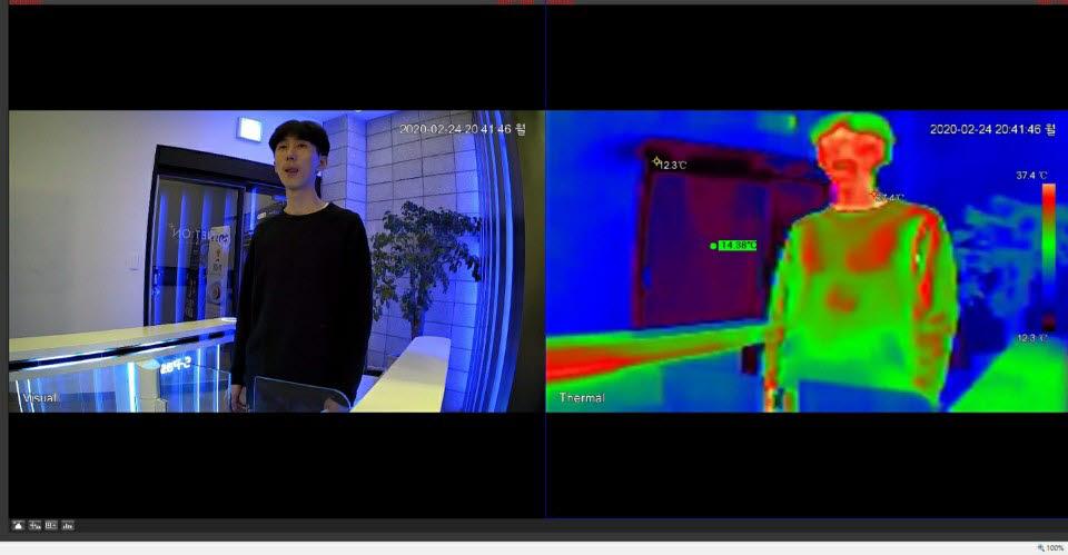 넷온이 개발한 발열 대상자 감별·추적 AI 안면인식 솔루션 시연 모습.