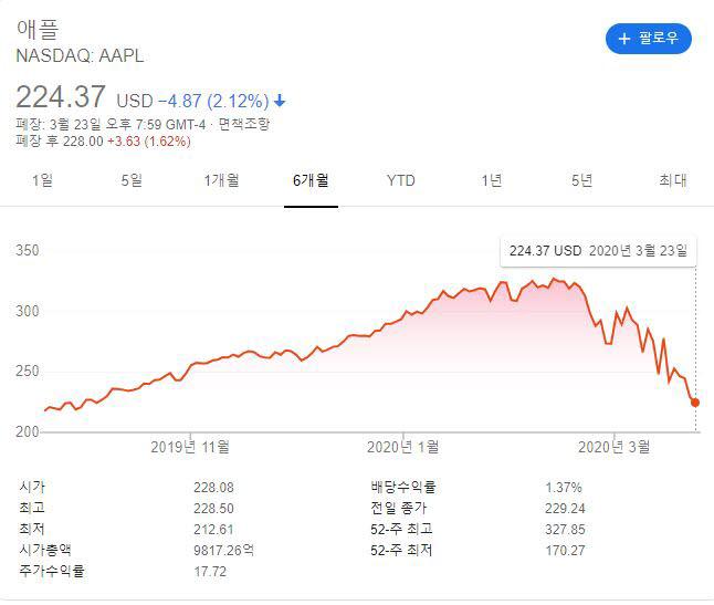 지난 6개월간 애플 주가변동 추이
