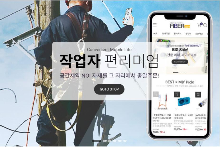 솔텍네트웍스가 오픈한 광통신 기자재 전문 쇼핑몰 파이버마트 메인 화면.