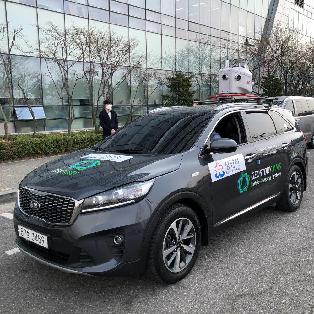 성남시 정밀 디지털지도 구축을 위한 MMS 탑재 차량.