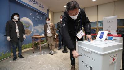 관외투표용지 수량 확인 위해 투표함 개봉