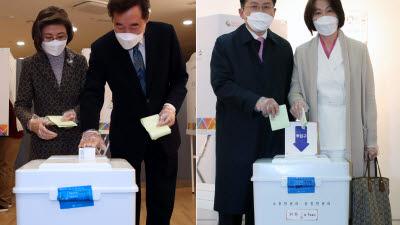 투표 마친 종로 빅매치 '이낙연·황교안'…운명의 날