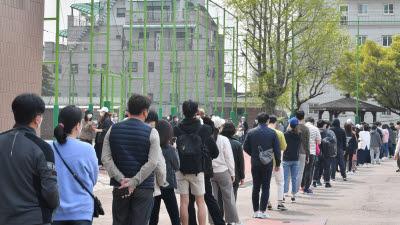 투표소 긴 줄, 사회적 거리두기