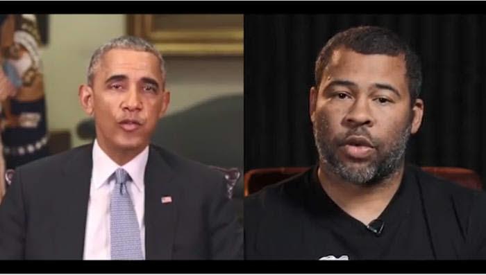 버즈피드가 제작한 딥페이크 영상. 영화감독 조던 필(오른쪽)이 성대모사한 영상을 버락 오바마 전 미국 대통령 영상에 입혔다. 유튜브 캡쳐