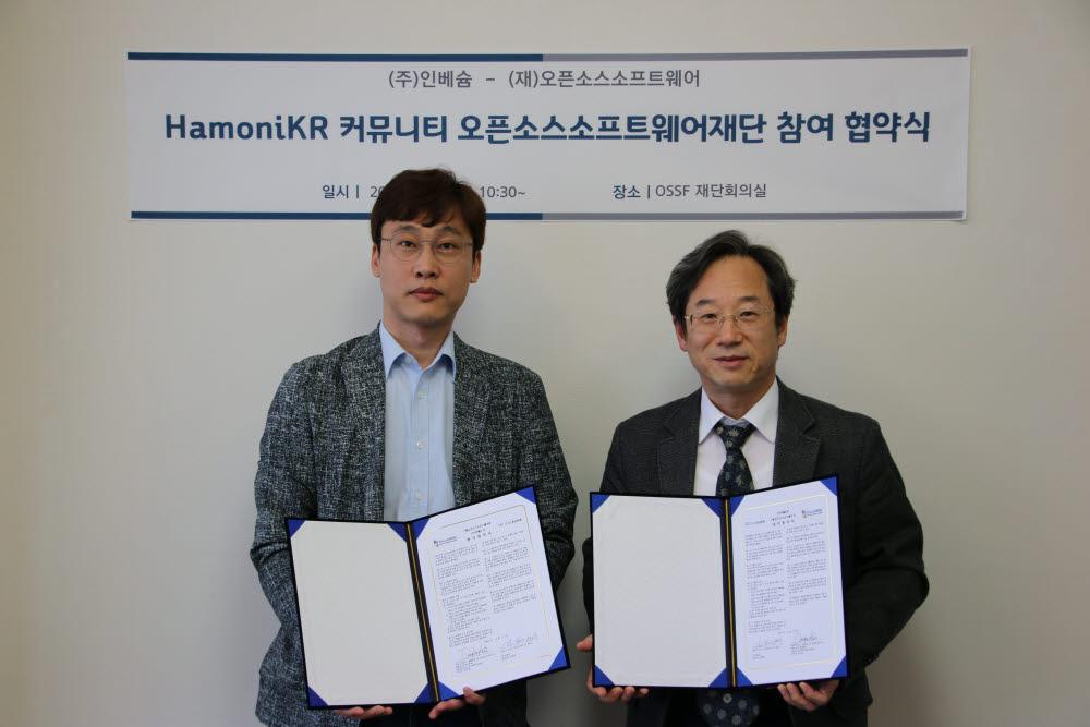 김형채 인베슘 대표(왼쪽)와 김두현 오픈소스소프트웨어재단 이사장이 협약을 맺었다.