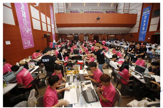 2018년 전북대에서 열린 제5회 대한민국 SW융합 해커톤 대회 모습. 사진=전자신문DB