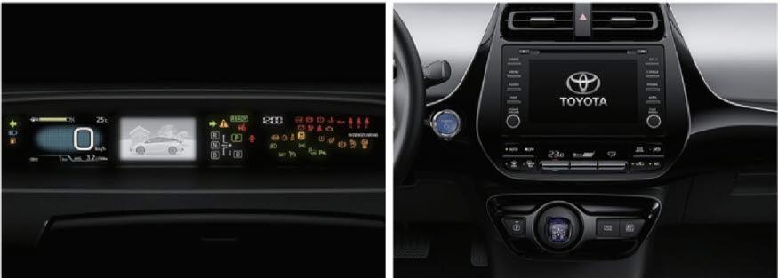프리우스 AWD. 사진은 왼쪽부터 4.2인치 컬러 TFT 트윈 미터, 멀티미디어 시스템