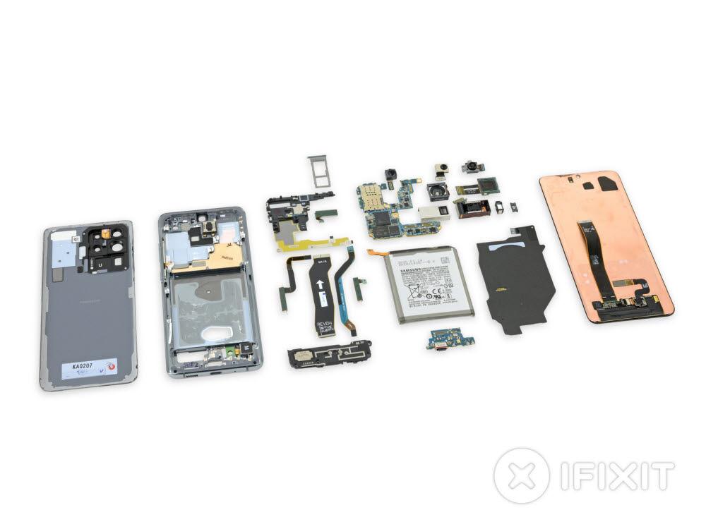 삼성 갤럭시S20에 탑재된 각종 부품들(자료: IFIXIT)