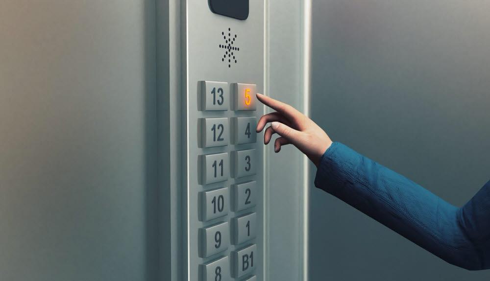 접촉하지 않아도 엘리베이터 버튼을 누를 수 있는 제품 개발 예시