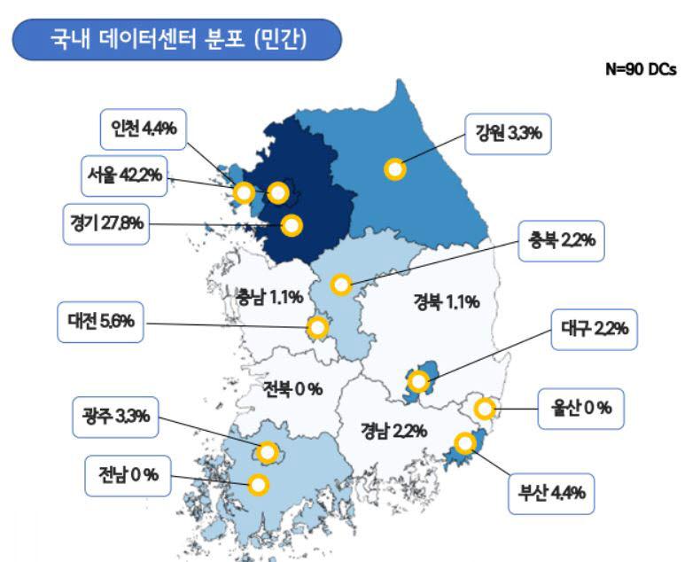 국내 데이터센터 분포(자료:한국데이터센터연합회)