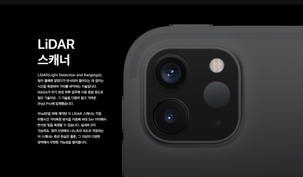 아이패드 후면 카메라부. 애플은 TOF라는 말 대신 라이다 스캐너로 부르고 있다.(자료: 애플 홈페이지)