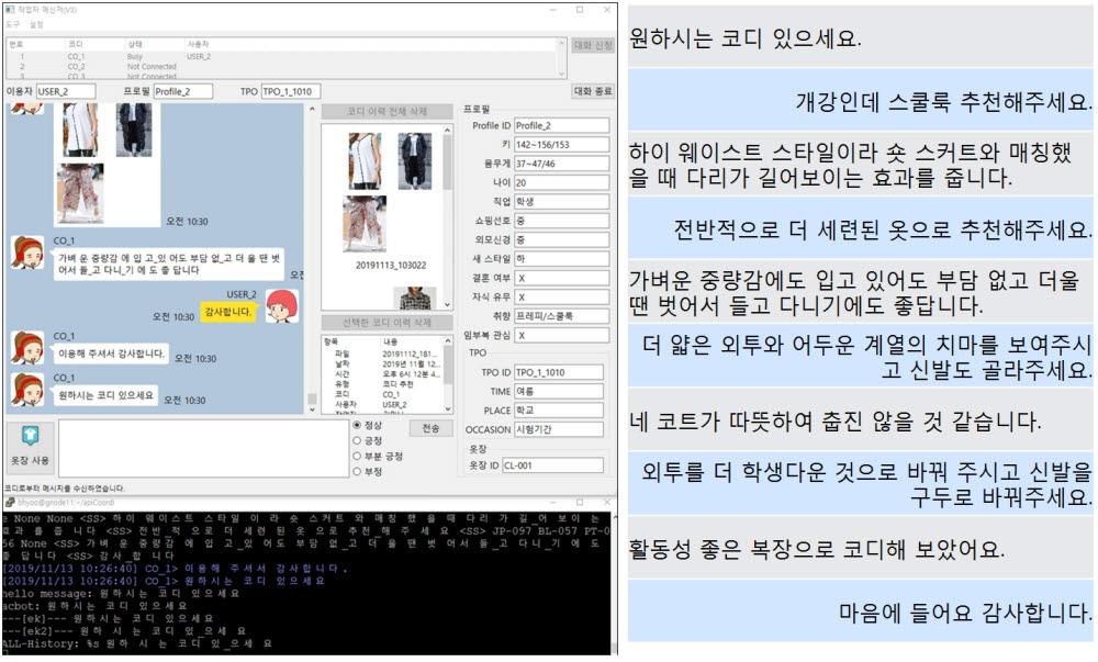 ETRI가 개발 중인 자율성장 AI 프로토타입을 활용해 상황에 맞는 옷을 추천받는 시연 모습
