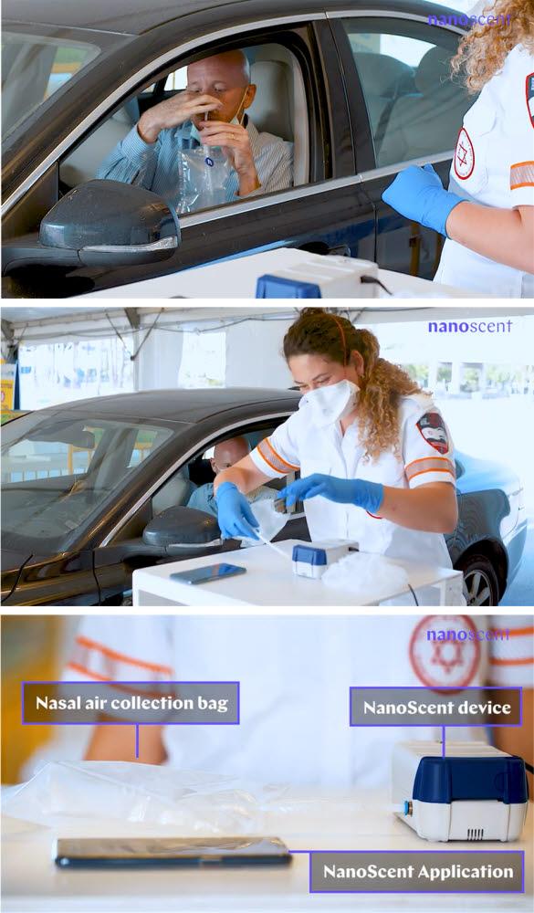 나노센트가 개발한 전자코 솔루션을 통한 코로나19 감염여부 진단 모습과 전자코 솔루션 구성 요소 (자료=나노센트 게재 유튜브 영상 How to use the NanoScent Covid-19 Test kit 캡쳐)