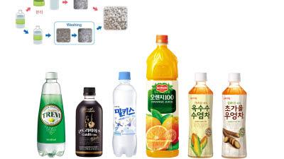 롯데칠성, 국내 최초 '재활용 가능한 페트병 라벨' 음료 출시