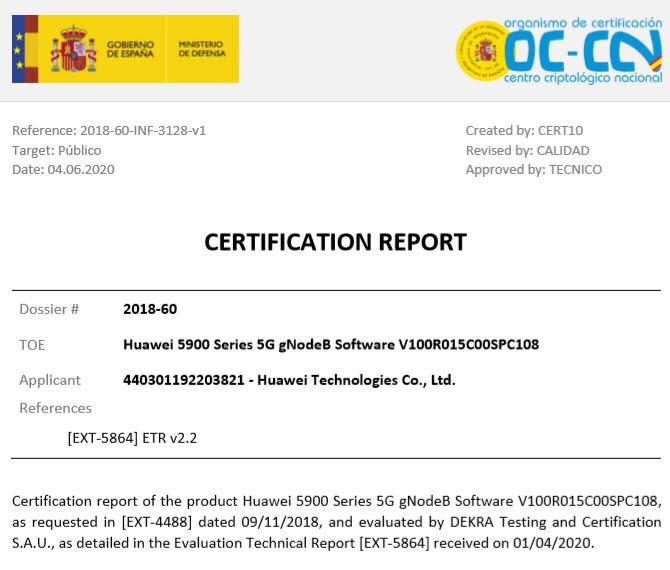 화웨이 5G 장비에 대한 국제 CC인증서. CCRA 제공