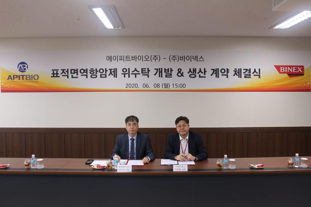 윤선주 에이피트바이오 대표이사(왼쪽)와 바이넥스 이혁종 대표이사 (사진=바이넥스)