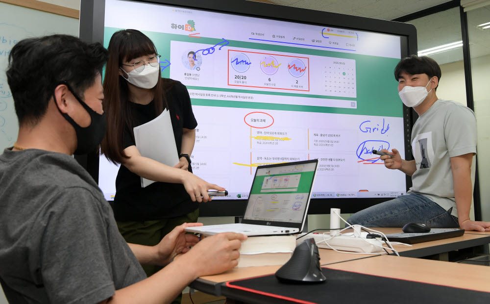 16일 서울 구로구 유비온에서 개발자들이 초등교육 학습플랫폼 하이디의 사용자 인터페이스(UI) 기획 회의를 하고 있다. 이동근기자 foto@etnews.com