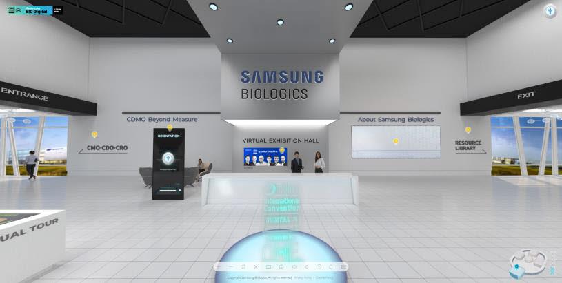 삼성바이오로직스가 비대면 디지털 방식으로 열린 세계 최대 규모 제약·바이오 행사 바이오 인터내셔널 컨벤션(바이오USA)에서 선보인 가상전시관 메인 캡쳐 화면. (사진=삼성바이오로직스)