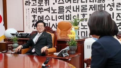 박병석 국회의장, 민주당 여성 의원들과 면담 가져