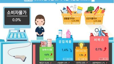 한달만에 마이너스 물가 멈춰...6월 소비자물가 상승률 0.0%