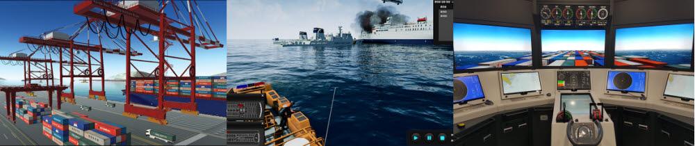 삼우이머션 보유 솔루션(왼쪽부터 항만 크레인 조종 시뮬레이터, 재난대응 가상훈련 솔루션, 선박 운항 시뮬레이션)