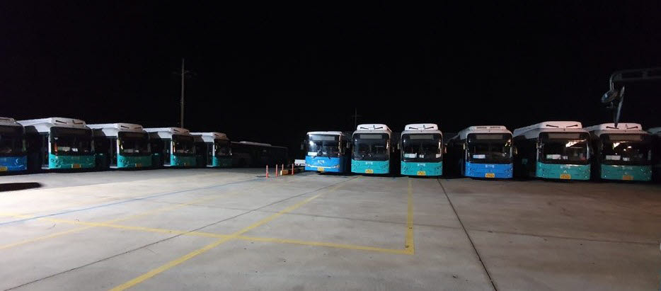 제주 동서교통 전기버스 차고지.