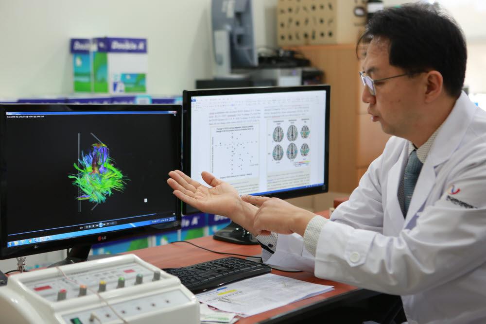 김형준 책임연구원이 뇌신경섬유지도를 통해 손목터널증후군 침치료 효과를 설명하고 있다. 사진출처=한국한의학연구원