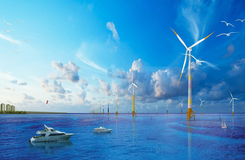 해상풍력 발전기 조감도