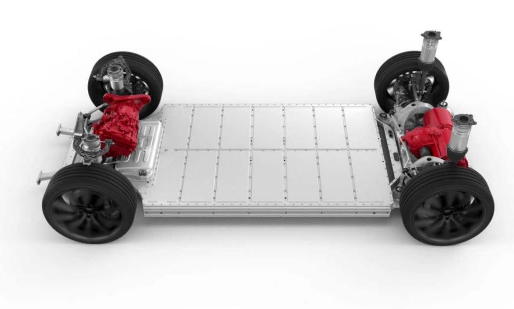 배터리가 포함된 전기차 플랫폼.