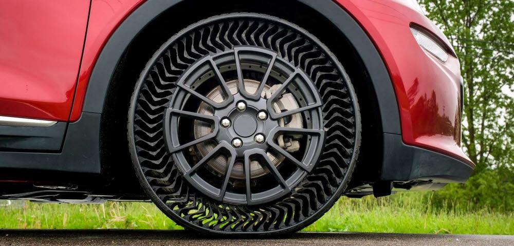 [카&테크]공기없는 승용 타이어, 펑크 위험 사라진다