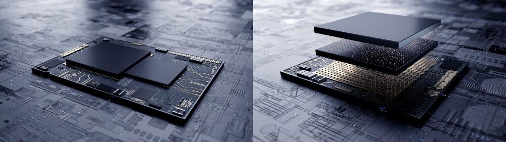 삼성의 X-cube 기술을 나타낸 그림(오른쪽). 기존 EUV 공정으로 만든 반도체는 평면으로 칩을 배치했다면, 삼성의 X-Cube 기술은 7나노 다이(die)를 적층하는 공법으로 칩 면적 감소와 전력 효율화를 도모할 수 있다. <사진=삼성전자>