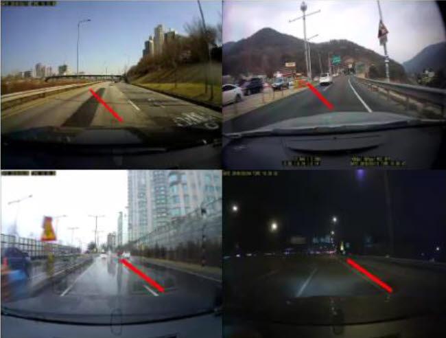 KIST 개발 기술을 활용, 도로 위 차선을 인식하는 모습