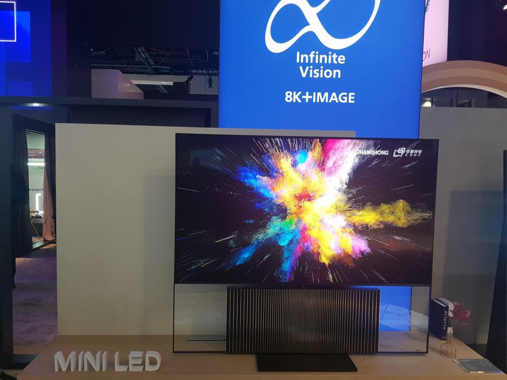 중국 창홍이 CES 2020에서 전시한 미니 LED TV