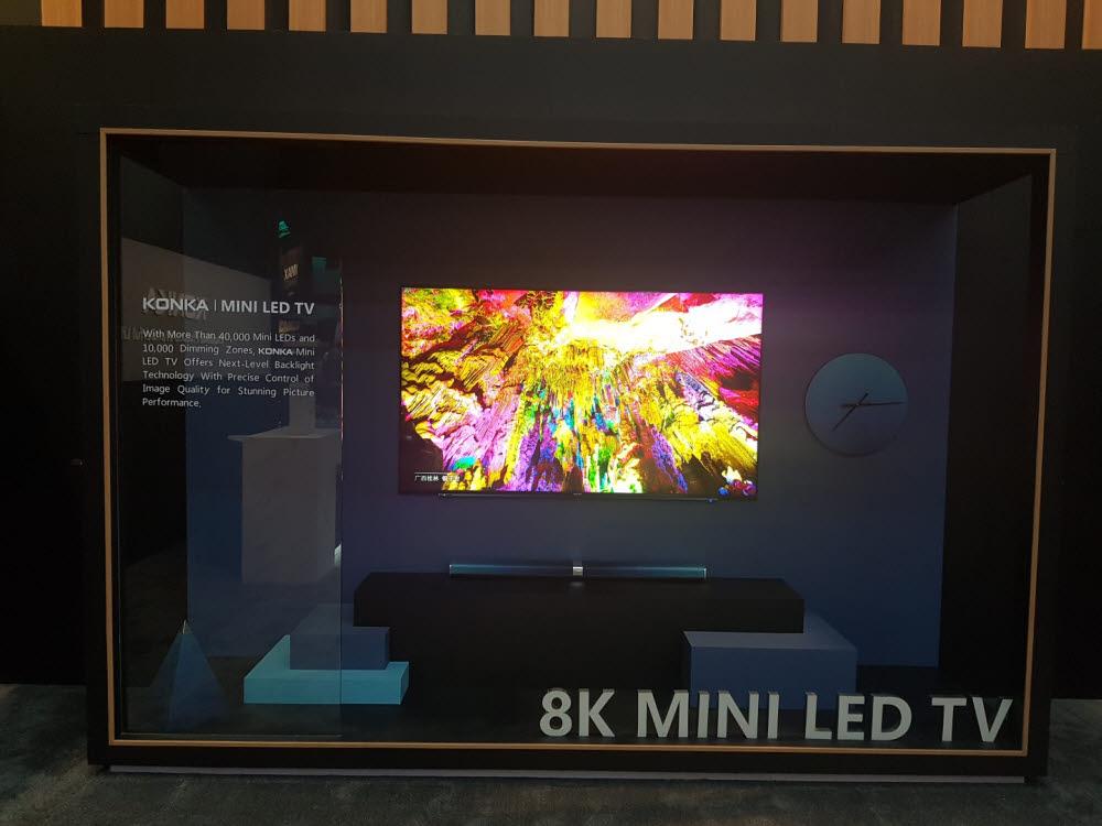 중국 콘카가 CES 2020에서 선보인 8K 미니 LED TV
