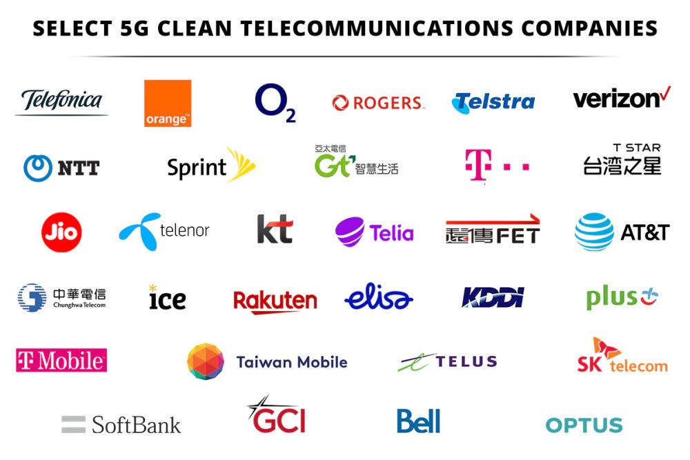 미국 국무부가 공개한 5G 클린 이동통신사 리스트
