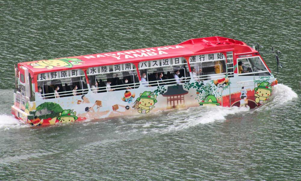 일본 사이타마공업대학(SIT)이 개발한 자율주행 수륙양용 버스.<사이타마공업대학 제공>