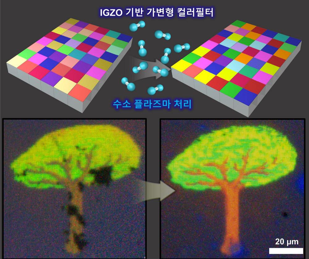 IGZO 기반 가변형 컬러필터 기술 모식도 및 마이크로 컬러픽셀 실험 결과