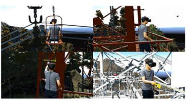 유오케이가 개발한 VR 철탑 교육훈련 콘텐츠.