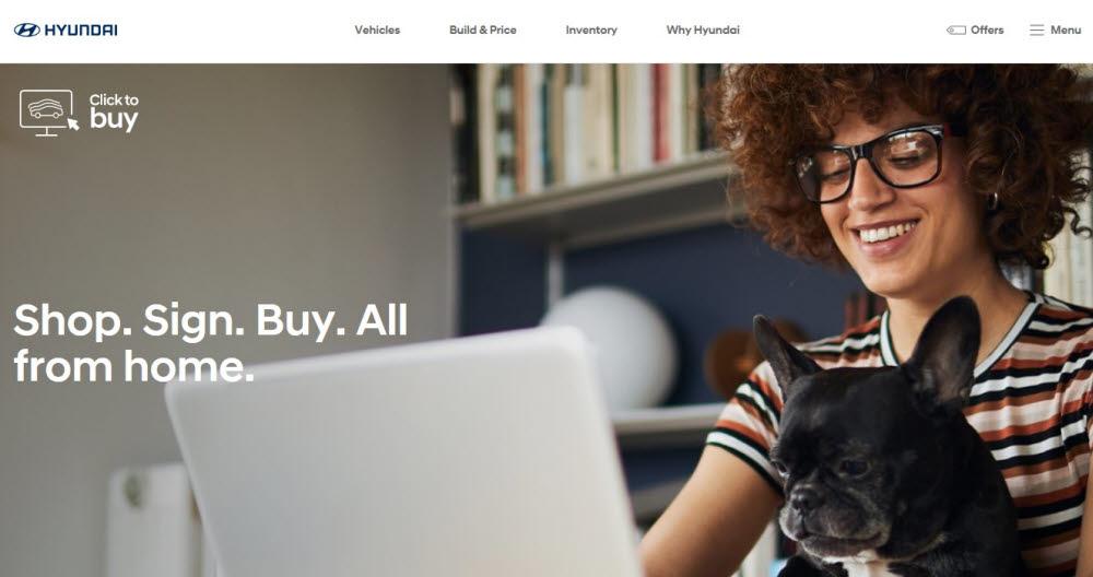 현대차 클릭 투 바이 홈페이지.
