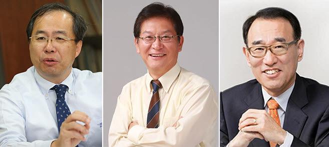 KAIST 교수협이 도출한 17대 총장 후보자. 사진 왼쪽부터 김정호 교수, 이혁모 교수, 임용택 교수