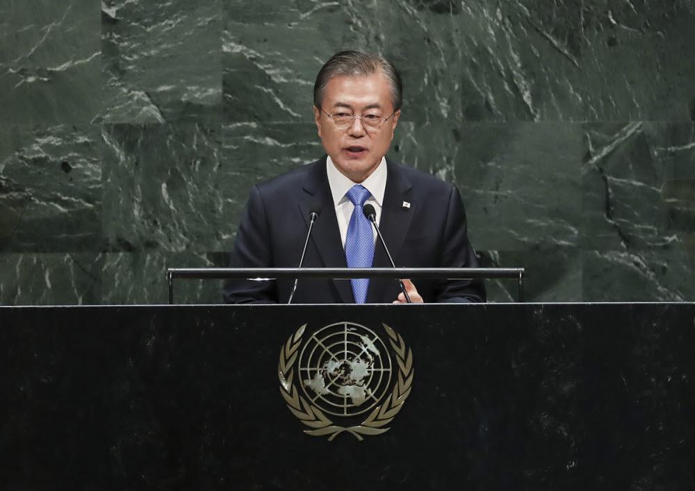 문재인 대통령이 2019년 제74차 유엔 총회에서 연설하고 있다. 청와대 제공