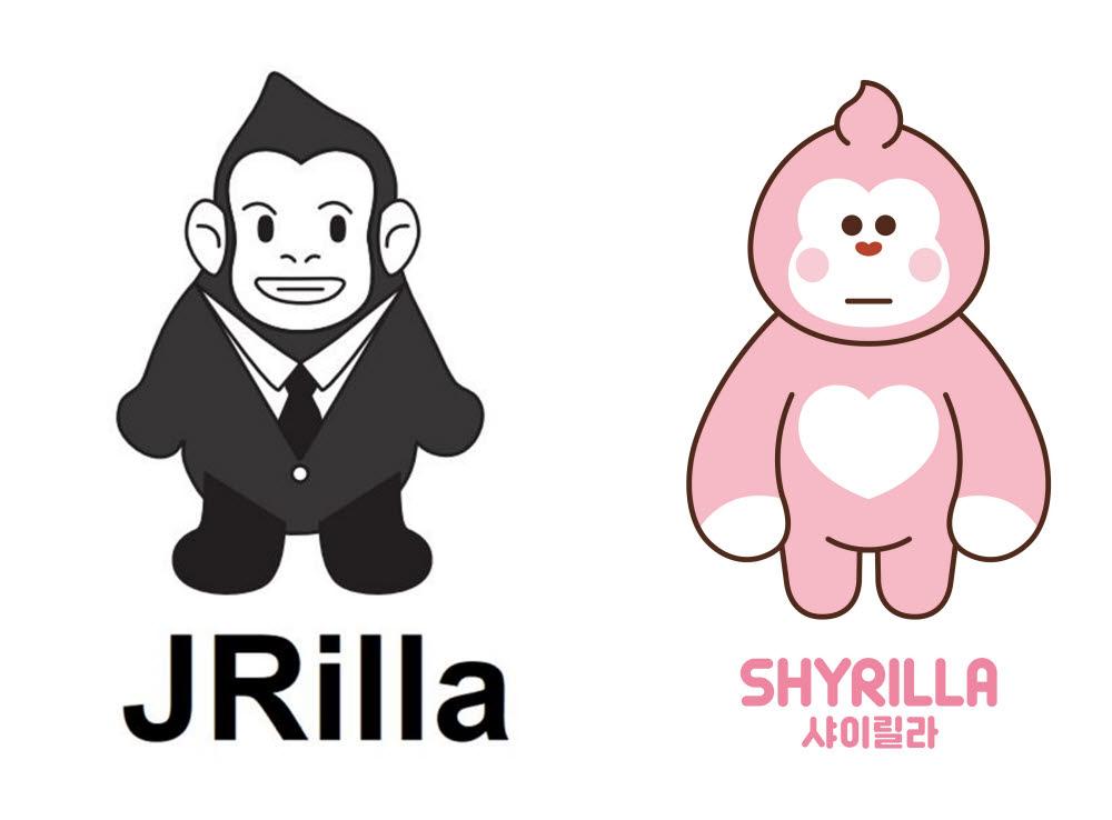 이마트가 상표 출원한 제이릴라 캐릭터(좌측)와 상품화까지 마친 샤이릴라 캐릭터(우측)