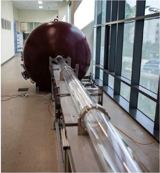 하이퍼튜브 주행시험을 위한 17분의 1 축소형 아진공 튜브 공력시험장치.