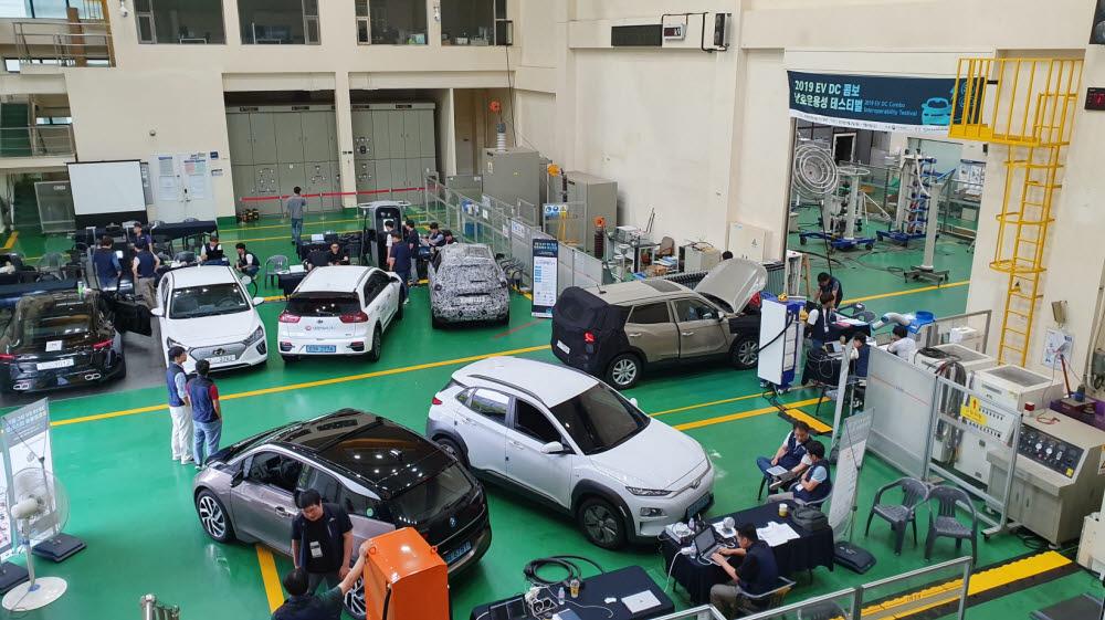 KERI가 국내에서 개최하고 있는 전기차 급속충전 상호운용성 테스트 행사.
