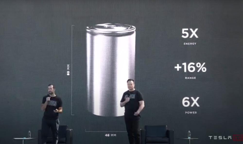 일론 머스크(오른쪽) 테슬라 CEO가 22일(현지시간) 미국 캘리포니아주 프레몬트공장에서 열린 배터리 데이에서 발언하고 있다. (테슬라 배터리 데이 영상 캡처)