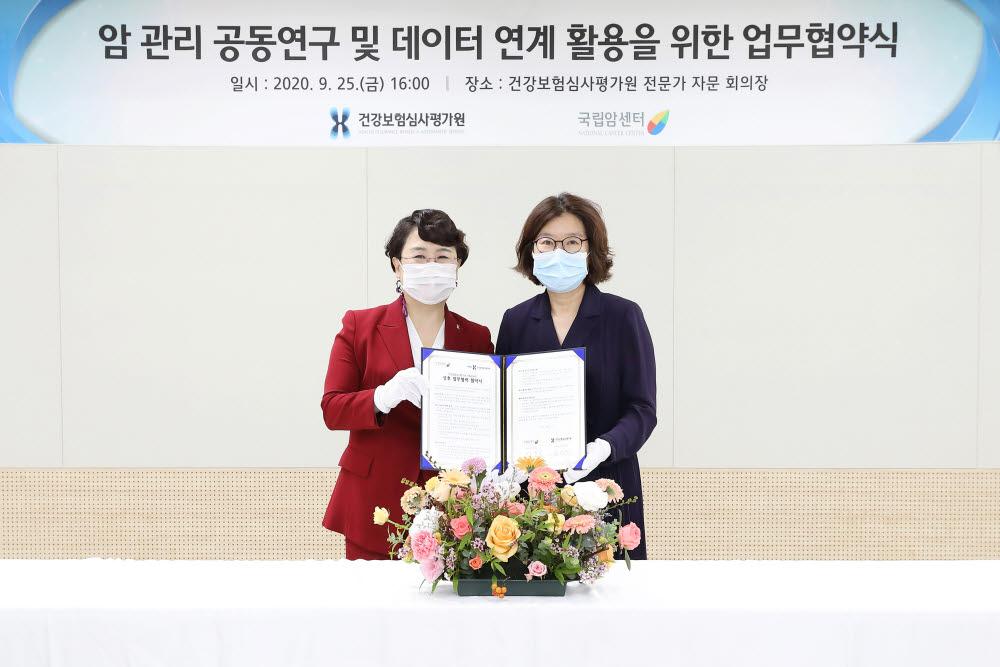 김선민 건강보험심사평가원장(왼쪽)과 이은숙 국립암센터 원장이 지난 25일 심사평가원 전문가자문 회의장에서 암 질환 억제 및 국민보건 향상을 위한 업무협약을 체결했다. (사진=건강보험심사평가원)