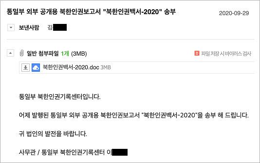 통일부 북한인권기록센터를 사칭한 스피어피싱 이메일. ESRC 제공