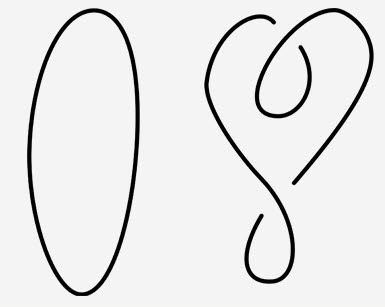 가장 기본적인 매듭인 원형 매듭(왼쪽)과 그 변형(오른쪽). 두 매듭은 얼핏 달라 보이지만 원형 매듭을 적당히 꼬아 놓으면 오른쪽의 매듭이 나온다. 이 과정에서 매듭의 중간을 자르거나 하는 일이 없었으므로 두 매듭은 같은 매듭이다. (출처 : wikipedia)